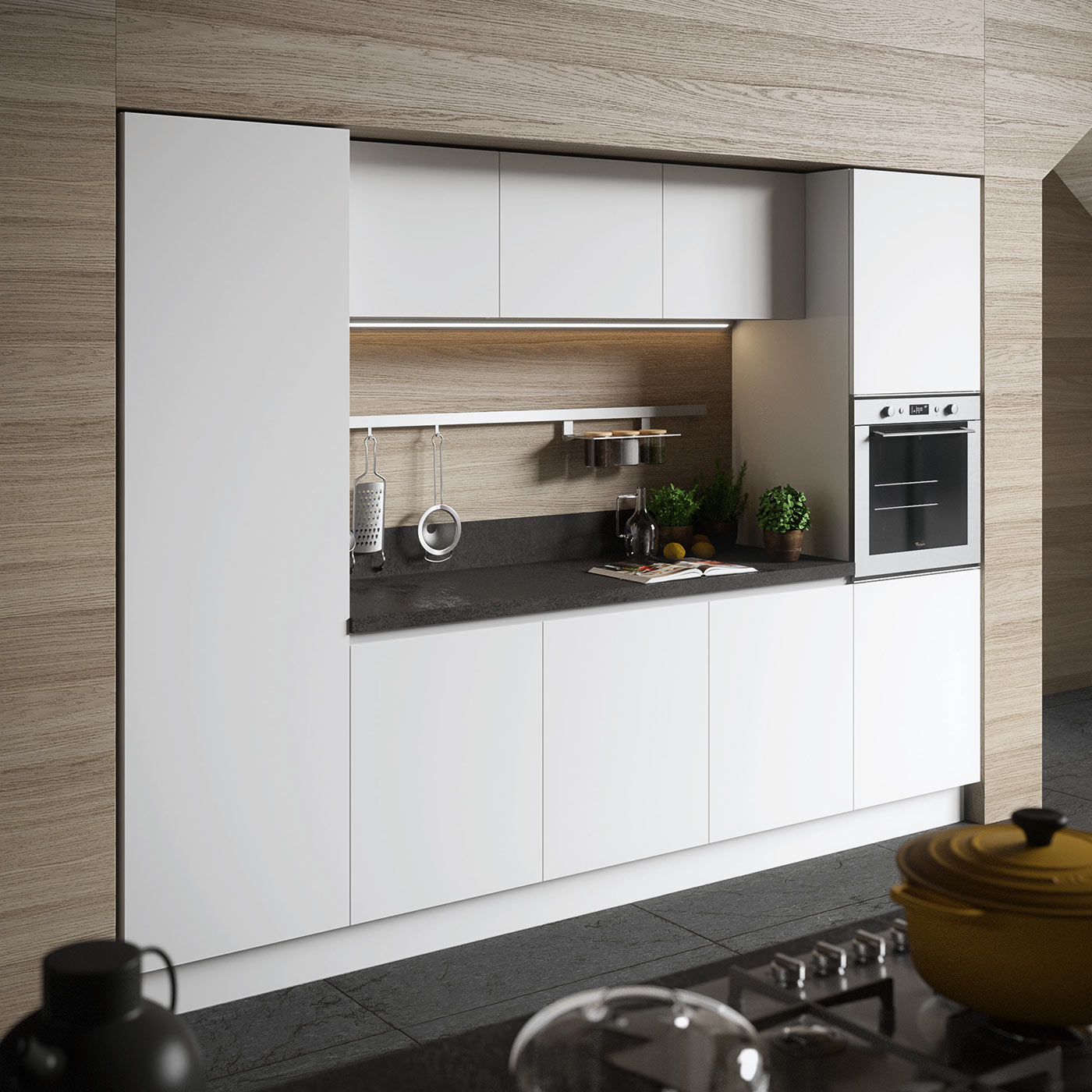 Muro Bianco E Grigio de.sign 2: modern white kitchen in fenix and black oxide