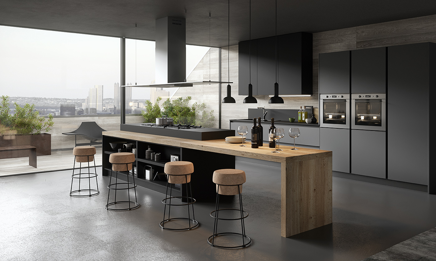 Muro Bianco E Grigio modern kitchen in oak and black laquer