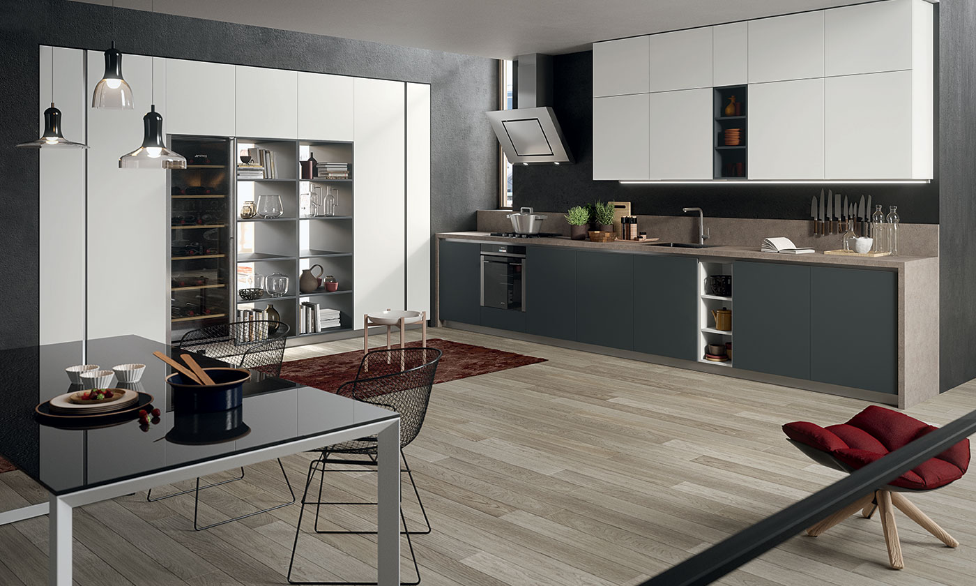 Muro Bianco E Grigio modern kitchen in laminated fenix and porphyry finishes