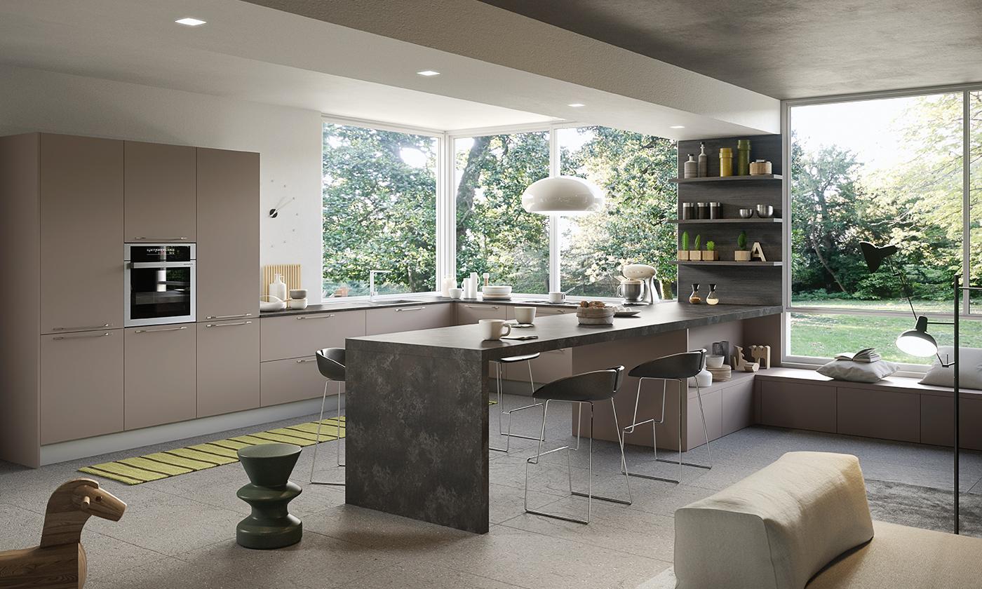 Cucina moderna joy legno e vetro dal design contemporaneo - Cucine gicinque ...
