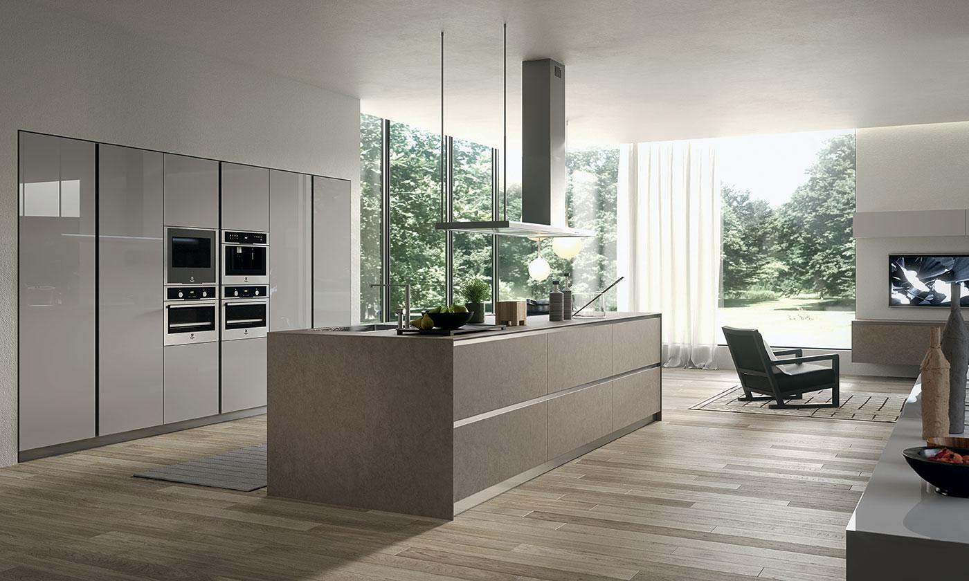 Cucina moderna myglass ante in gres e vetro gicinque - Cucine gicinque ...