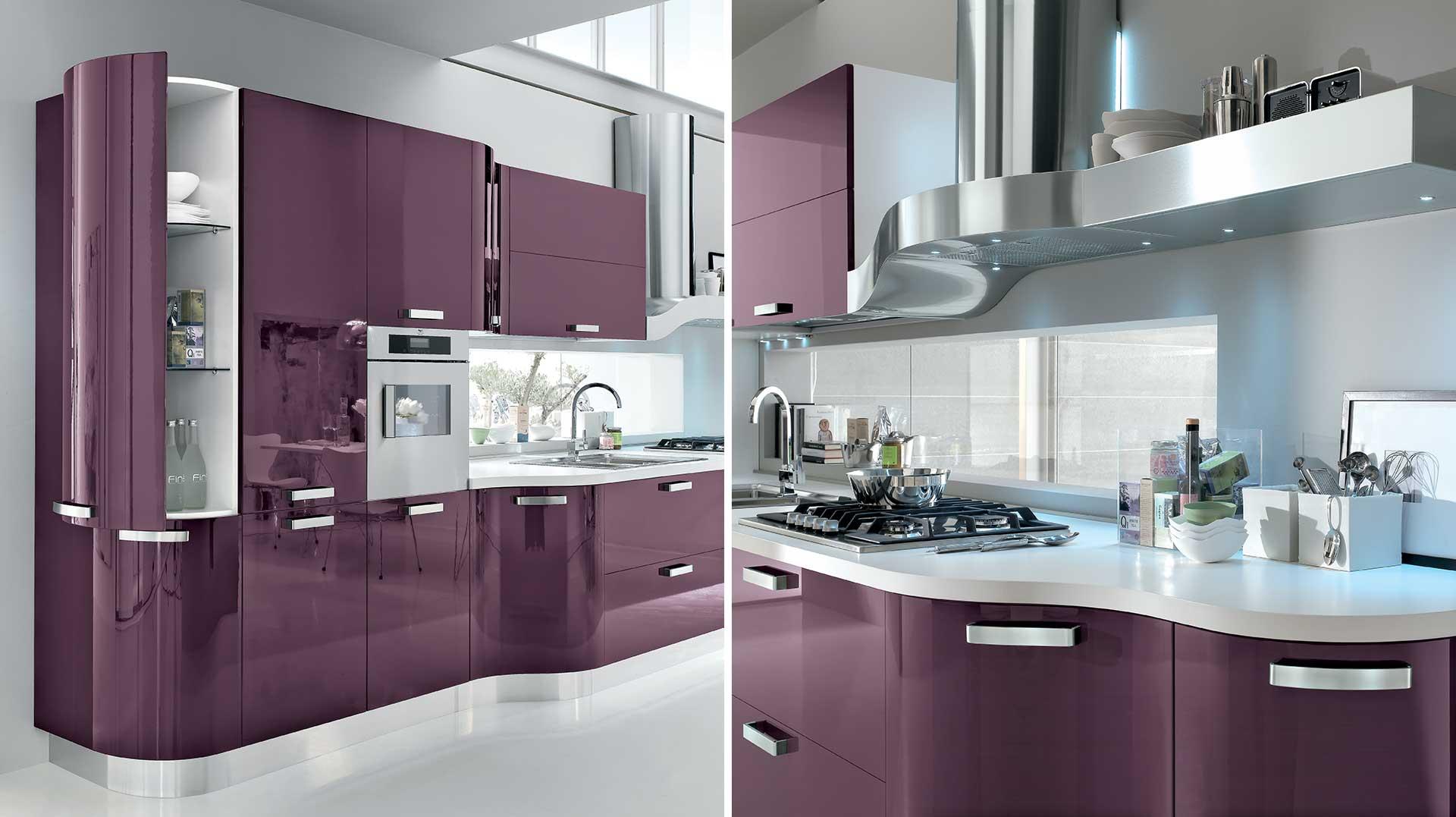 Cucina moderna kristal linee ondulate e morbidezza gicinque - Cucina color melanzana ...