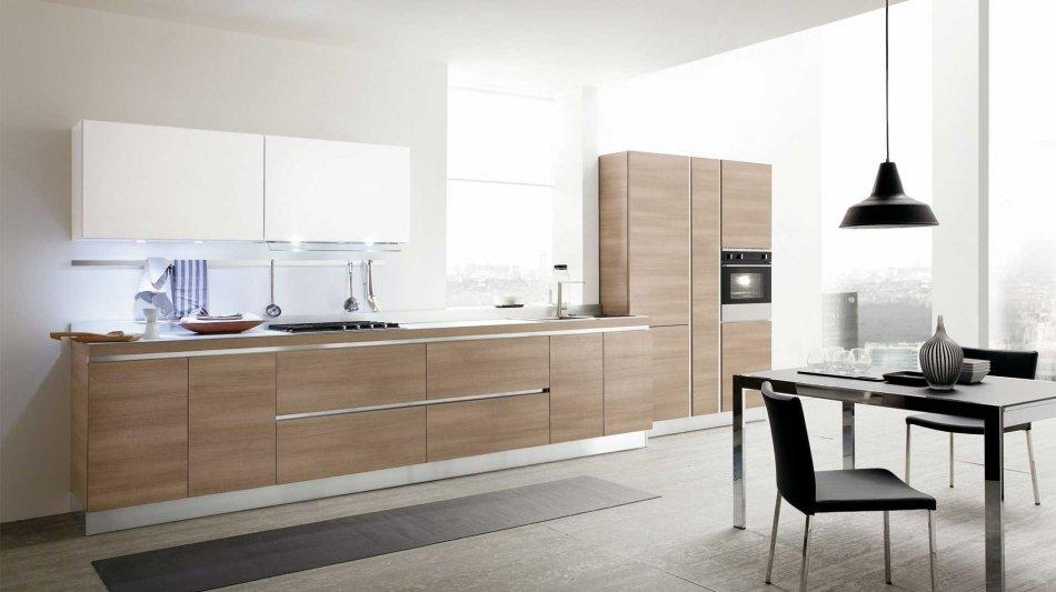 Cucina Moderna Joy: Legno e Vetro dal Design Contemporaneo