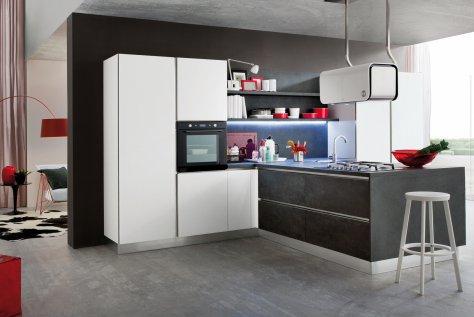 Cucina moderna myglass ante in gres e vetro gicinque - Cucina bianca e marrone ...
