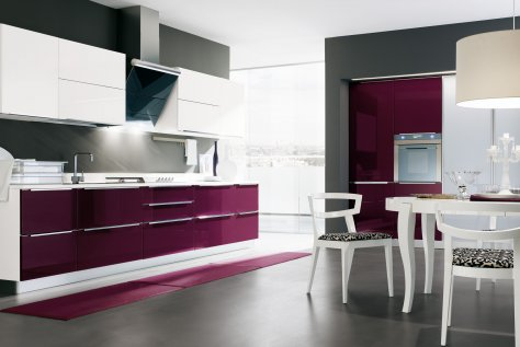 Aubergine and Gloss white