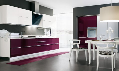 Aubergine and glossy white