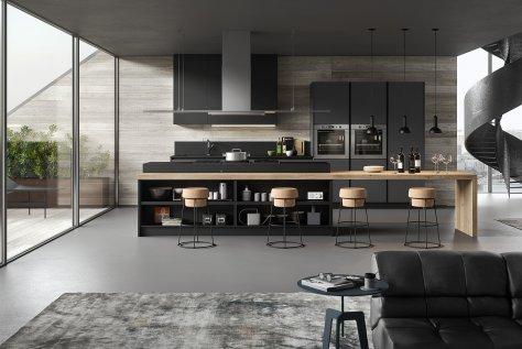 Bianco Kos De.Sign: Cucina Moderna in Fenix bianco e Oxide nero