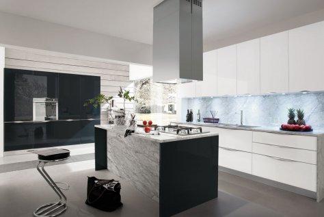 Cucine Bianco Grigio : Cucina moderna rovere argilla e bianco opaco onda