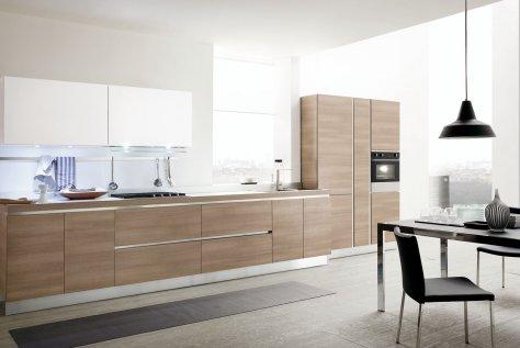 Cucina Moderna Bianco Conchiglia e Frassino cachemire