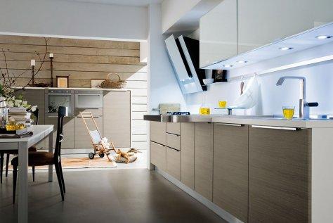 Cucina Moderna Rosso Lucido e Rovere Chiaro - City