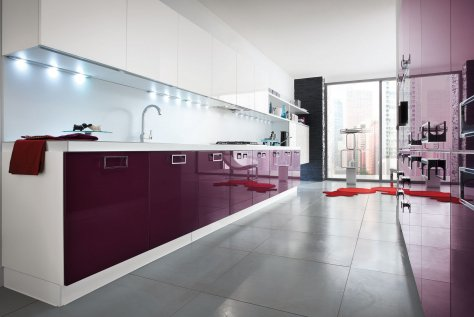 Gloss white and Gloss aubergine